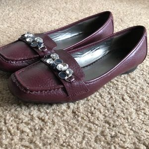 Maroon Leather-Like Loafers